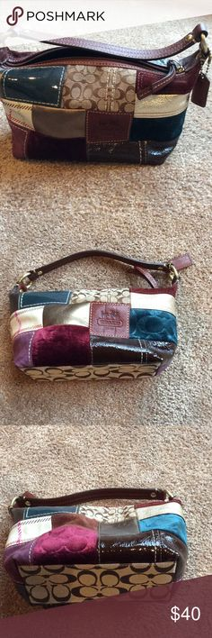 Tiny Coach patchwork purse Super cute, never used Tiny Coach Purse.  New condition .  Patchwork material and leather trim.  Very fun size for phone, wallet and keys Coach Bags Mini Bags