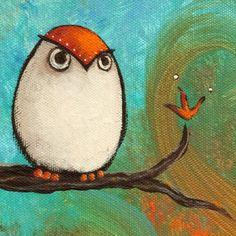 Original Acrylic Painting of an Owl.
