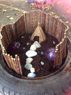 garden small world tyre for outdoor play in the early years - by EYchloe ., Fairy garden small world tyre for outdoor play in the early years - by EYchloe ., Fairy garden small world tyre for outdoor play in the early years - by EYchloe . Preschool Garden, Sensory Garden, Outdoor Education, Outdoor Learning, Outdoor Classroom, Outdoor School, Nursery Activities, Outdoor Play Spaces, Small World Play