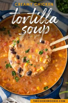 Creamy Chicken Tortilla Soup is one of my favorite fall soup recipes. It's creamy, it's delicious, and it's filled with all of my favorite ingredients! Fall Soup Recipes, Crockpot Recipes, Dinner Recipes, Cooking Recipes, What's Cooking, Easy Recipes, Keto Recipes, Creamy Chicken Tortilla Soup, Chicken Soup Recipes
