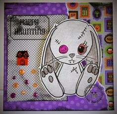 A super cute Halloween card with a bunny rabbit. Cute Halloween, Halloween Cards, Bunny Rabbit, Stamps, Super Cute, Happy, Seals, Postage Stamps