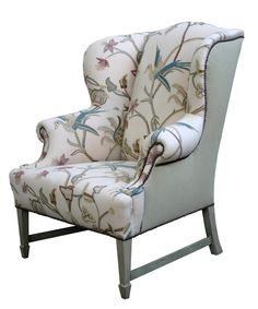 Comfortable Wingback Chair Designs For Living Room Furniture : Vintage White and Grey Caper Elliott Wingback Chair with Soft Fabric Materials Chair Cover that have Bird Pattern Decorating also Classic Grey Wood Materials Legs also Double Arms