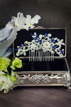sapphire blue swarovski crystal bridal hair comb, royal blue rhinestone hair…