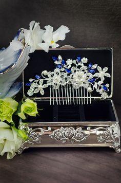 sapphire blue swarovski crystal bridal hair comb, royal blue rhinestone hair…