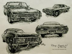 A few sketches of the Chevrolet Impala 1967 for my ornamental drawing class. Size and black pilot (ink). Supernatural Impala, Supernatural Drawings, Supernatural Fan Art, Supernatural Background, Car Drawings, Realistic Drawings, Pencil Drawings, Impala 67, 1967 Chevy Impala
