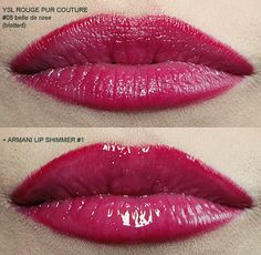 YSL Rouge Pur Couture Belle de Rose plain and with Armani Lip Shimmer #1 on top