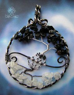 « Point de vue »    Ce pendentif arbre de vie a été inspiré par le symbole du Yin et du Yang, mais aussi comment les gens peuvent voir