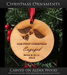 Our First Christmas Engaged Ornament by WeddingTreeGuestbook