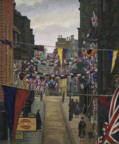 Charles Ginner -  'Flask Walk, Hampstead, on Coronation Day', 1937 © Tate