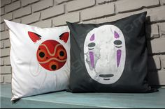 Studio Ghibli No Face And Princess Mononoke Decorative Pillow Cover Bundle, Anime Throw Pillow, Anime Home Decor by MomoGearShop on Etsy https://www.etsy.com/listing/269750306/studio-ghibli-no-face-and-princess