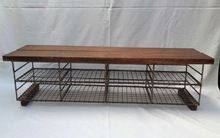 Vintage Industrial School Shoe Rack Store Metal Wire Oak Bench Pigeon Hole in Antiques, Antique Furniture, Benches/Stools, Century Industrial Shoe Rack, Vintage Industrial Furniture, Shoe Rack Vintage, Shoe Rack Store, Shoe Racks, Shoe Storage, Storage Ideas, Ikea Baby Nursery, Buy Tile