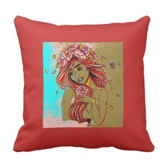 Girl Art illustration Flowers Red Pillow Throw  $32.60  by rtmdesignart  - cyo diy customize personalize unique