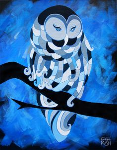 """Artist: Barbara Rush - """"The Ice Owl - 16""""x20"""" Acrylic painting on canvas. Beautiful dry brushed background eluding to a moonlit evening. Windswept feathers inspired by cubism add to the energy of the subject. Simplified color palette allows the viewer to focus on the shapes and contrast between the loose brushstrokes in the background and the blocked out shapes in the foreground."""""""