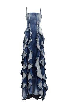 Denim Evening Dresses, Denim Wedding Dresses, Denim Dresses, Blue Jean Dresses, Diy Jeans, Jeans Denim, Denim Skirt, Diy Vetement, Mode Jeans