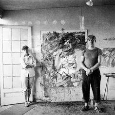Willem De Kooning Biography | Photo of Elaine and Willem de Kooning in studio , Parrish Art Museum.