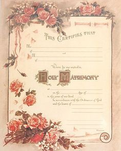 Marriage Certificate Vintage Marriage Certificate antique marriage certificate Victorian style marriage certificate blank by HeirloomFashions ...