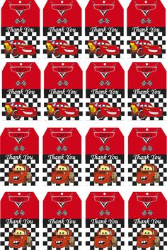 Disney Cars Birthday Party Thank You Tags Printable by allforparty