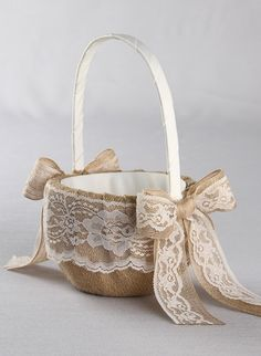 Country Romance Flower Girl Basket- Rustic burlap and lace flower girl basket with a jute and lace bows. Burlap wedding.