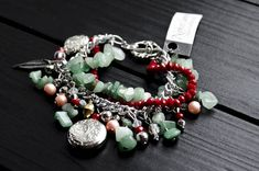 Layered bracelet  Nephrite natural stone  Sophisticated