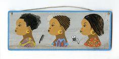 """peinture enseigne de coiffeur africain (""""les 3 étapes du greffage"""")"""