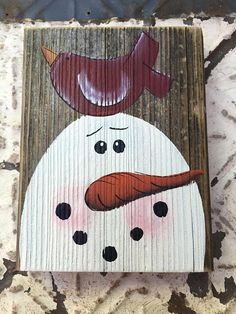Rustic Snowman and Red Bird Block Wooden Christmas Home