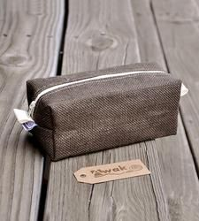 Brown Burlap Toiletry Bag