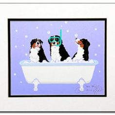 Rub-a-dub-dub-dog Mountain Art, Mountain Dogs, Dog Illustration, Bernese Mountain, Textile Patterns, Moose, Bathroom Ideas, Cartoon, Pets