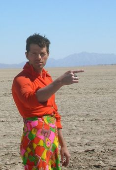 Misha Collins.. not sure if this is drag.. or just an outfit choice... oh Misha.