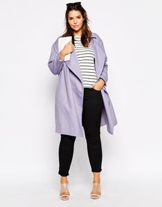 Enlarge ASOS CURVE Cocoon Duster Coat with Waterfall