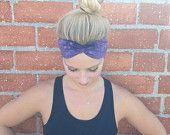 Workout Headband- crossfit headband- fitness headband- yoga headband••• Purple Tie-Dye