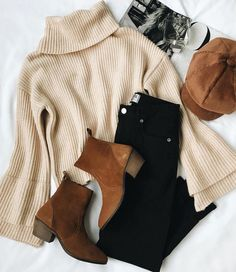 #fashion Winter Outfit Inspiration mit Camel, Schwarz, Beige