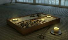 Zen garden for coffee table in massage studio
