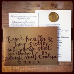 Custom calligraphy with a vintage letterpress invitation set. www.sparrowcraftingandpress.com