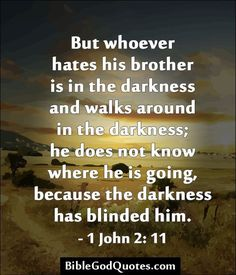 But whoever hates his brother is in the darkness and walks around in the darkness; he does not know where he is going, because the darkness has blinded him. Bible Truth, Biblical Quotes, Religious Quotes, Bible Verses Quotes, Bible Scriptures, Spiritual Quotes, Spiritual Growth, King James Bible Verses, Bible Knowledge