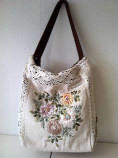 Floral vintage hand embroidered shoulder bag with crochet