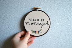 Mischief Managed - Harry Potter Quote, Embroidery Hoop Art, Marauder's Map, JK Rowling Quote, Harry Potter Art, Potterhead, Geekery