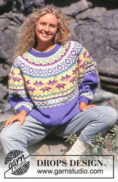 Women - Free knitting patterns and crochet patterns by DROPS Design Knitting Machine Patterns, Sweater Knitting Patterns, Crochet Patterns, Drops Design, Fair Isle Knitting, Free Knitting, Magazine Drops, Print Patterns, Free Pattern