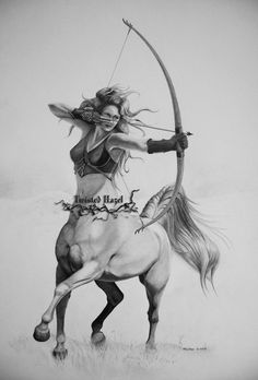 Sagittarius by Hazel Colton ~ Centaur Sketch For more about #Sagittarius visit: www.theAstrologer...