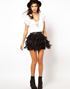Black Fringe Tassel Leather High Waist A-Line Mini Skirt