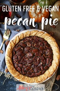 Try my Gluten Free Vegan Pecan Pie for the holidays. This recipe is a healthier alternative to a holiday classic. #abbeyskitchen #pecanpie #thanksgivingdessert #healthydessert #veganglutenfree #vegandessert #healthytreat #glutenfreedessert #healthypecanpie #healthydessert #pecans #healthyindulgence