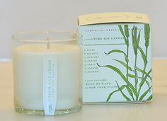 FRESH CUT GRASS Pure Soy Candle Aromatic clipped grass is combined with a touch of cedar and yet ripened baby green tropical fruit.  These environmentally-friendly candles are brought to you in fully recycled, biodegradable, FSC-Certified, plantable packages which are infused with seeds that will grow the scent of the candle! 60 hour burn time.