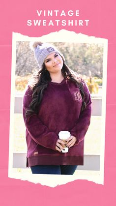 The cozy sweatshirt of your dreams is here! These Vintage Sweatshirts are available in 2 colors – Black and Burgundy. Featuring the softest velour fabric, these monogrammed sweatshirts will surely be a staple in your winter wardrobe! This sweatshirt has is bridge sized with a flattering fit and side slits. Be sure to complete your look with a pair of monogrammed duck boots and a cute monogrammed beanie!