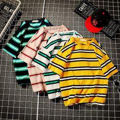 Summer New T Shirt Men's Fashion Striped Casual Short-sleeved Tshirt Man Streetwear Trend Wild Hip-hop Loose T-shirt Girls Fashion Clothes, Teen Fashion Outfits, Men's Fashion, Aesthetic T Shirts, Aesthetic Clothes, Sweater And Shorts, Casual Shorts, Korean Girl Fashion, Korean Outfits