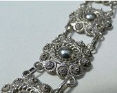 On SALE Sterling Cannetille Flower Bracelet Exquisite Cannetile Style Flowers