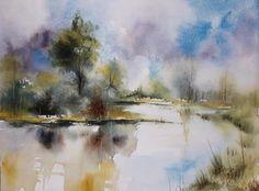 23x31cm Restons-là #abby #painting #art #lac #reflets #étangs #watercolor #landscape