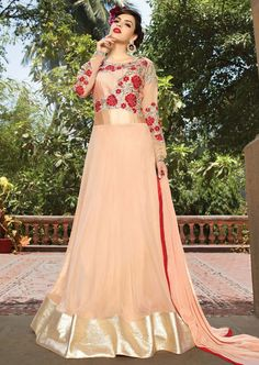USD 38.78 Peach Semi Georgette Floor Length Anarkali Suit 55827