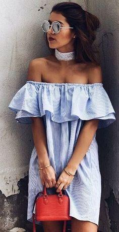 #summer #trending #outfits | Striped Bardot Dress + Red Bag