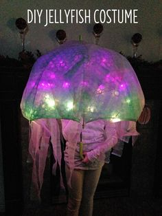 DIY Jellyfish Halloween Costume that lights up. Easy no-sew tutorial to create a & Jelly fish costume with flash tobetter see the details | Halloween ...