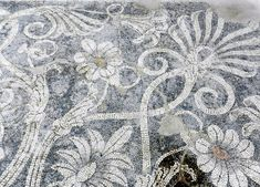 Detail of pebble mosaic floor. Pella Archaeological Museum, Greece. 400BC. Palace of Philip II of Macedon.