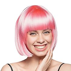 Fancy Ball Capless Synthetic Party Wig Capless Short Pink Straight Bob Wig Full Bang